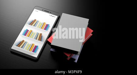 E learning concept. Books on shelves on a smartphone screen and books on a black wooden background, banner, copy - Stock Photo