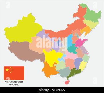 colorful administrative and political vector map of china with flag - Stock Photo