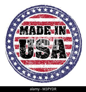 Made in USA red and blue rubber stamp - Stock Photo