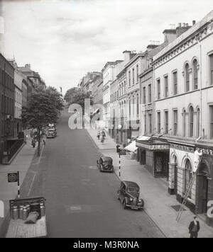 1950s, historical view of Shipquay Street, Derry, Northern Ireland, showing the Derry Standard Printing Works and - Stock Photo