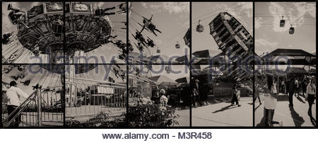Swing Ride at the 2017 State Fair of Texas - image is a composite of 12 separate frames and combined as a composite. - Stock Photo