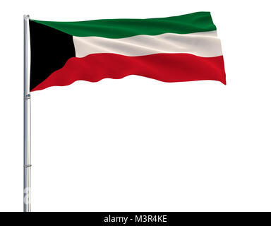 Flag of Kuwait on the flagpole fluttering in the wind on white background, 3d rendering - Stock Photo