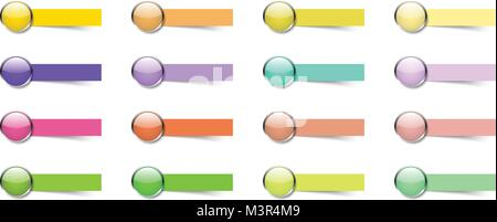 Vector Illustration Ready-To-Use 16 Colorful Glossy Buttons With Blank Sticky Notes. Useful For General Business - Stock Photo