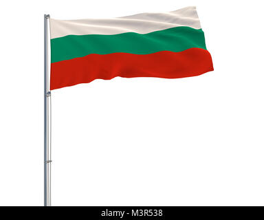 Flag of Bulgaria on the flagpole fluttering in the wind on white background, 3d rendering - Stock Photo