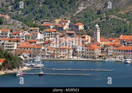 Skradin, town on confluence of river Krka at Adriatic sea, near Krka waterfalls - Stock Photo