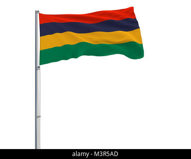 Flag of Mauritius on the flagpole fluttering in the wind on white background, 3d rendering - Stock Photo