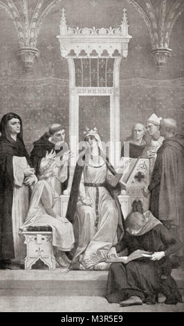 The childhood of Saint Louis.  Following the death of his father whilst Louis was still a child, he received a strict - Stock Photo