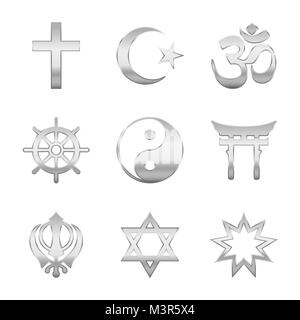 Religion symbols. Silver signs, major world religious groups and religions. Christianity, Islam, Hinduism, Buddhism, - Stock Photo