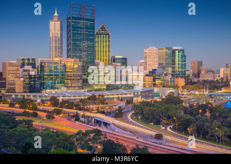 Perth. Cityscape image of Perth skyline, Australia during sunset. - Stock Photo