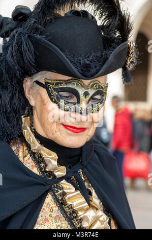 Venice, Italy - February 5 2018 - The Masks of carnival 2018. The Carnival of Venice is an annual festival held - Stock Photo