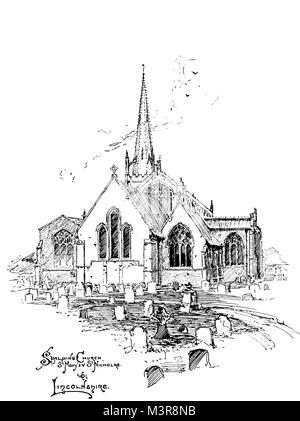 Church of St Mary and St Nicholas, Spalding, Lincolnshire in 1880s, line illustration by Oswald Chambers, from 1895 - Stock Photo