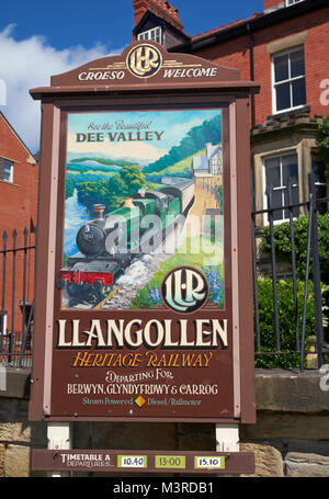 Painted sign advertising the Llangollen Heritage Railway. Llangollen, Denbighshire, Wales. - Stock Photo