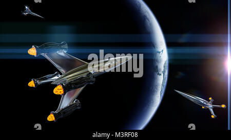 spaceships in orbit of planet Earth, rocket traffic (3d illustration, elements of this image are furnished by NASA) - Stock Photo