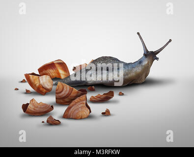Life in transition and change your image concept or lose baggage concept as a snail that has lost its shell in a - Stock Photo