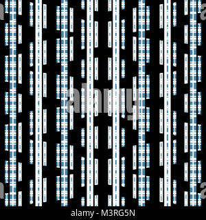 Digital technique abstract geometric stripes seamless pattern design in blue and black and white colors - Stock Photo