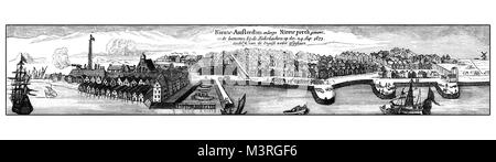 Vintage engraving of New Amsterdam, then New York, from the sea, XVII century - Stock Photo
