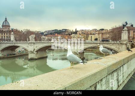 Ponte Vittorio Emanuele II Bridge over the River Tiber  Rome the Eternal City Italy Europe Travel Winter - Stock Photo