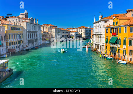 Colorful Grand Canal From Ponte Academia Bridge Buildings Ferry Boats Reflections Venice Italy - Stock Photo