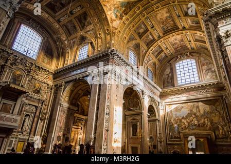 Interior in Gesu Nuovo church in Naples - Stock Photo