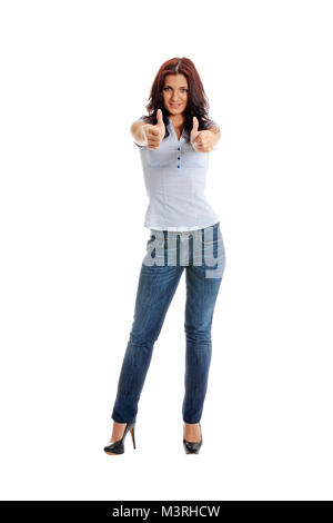 A beautiful caucasian business lady with thumb up signs and a smile, isolated on white background. - Stock Photo