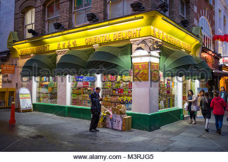 Oriental Delight Asian Supermarket in Chinatown, Gerrard Street, City of Westminster, London, England, United Kingdom - Stock Photo