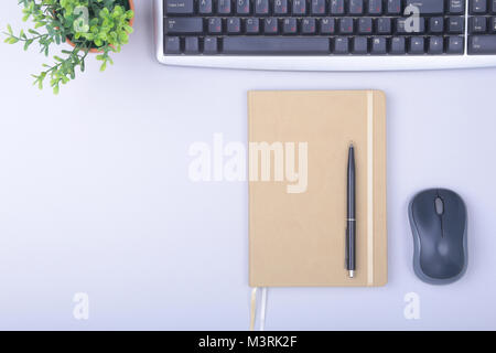 office supplies and gadgets on desk. Top View. - Stock Photo