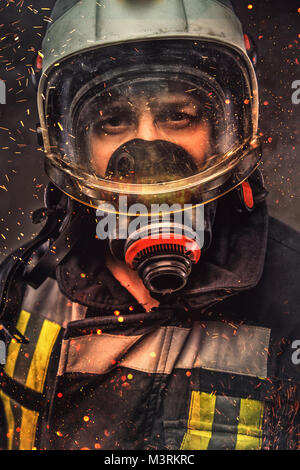 Portrait of firefighter . Concept art - Stock Photo