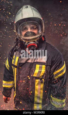 Portrait of firefighter . Concept art - Stock Photo