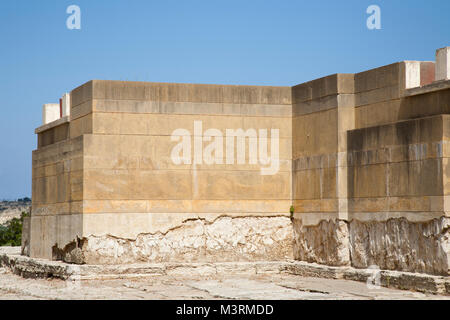 West court, West facade, Knossos palace archaeological site, Crete island, Greece, Europe - Stock Photo