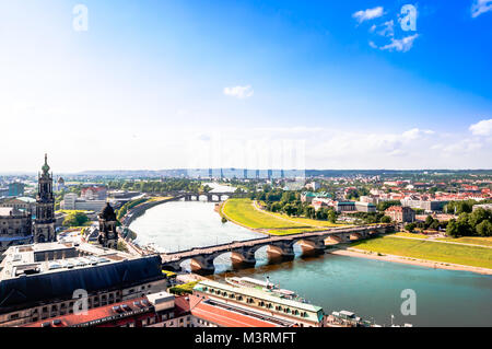Panoramic view on Dresden from top of church Frauenkirche - Germany - Stock Photo