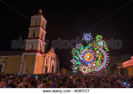 Las Parrandas de Remedios, Cuba. Light Display or Trabajo de Plaza - Stock Photo