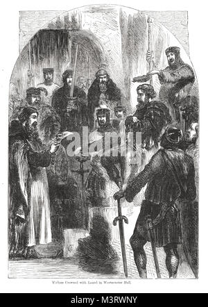 William Wallace crowned with Laurel at his trial for treason in Westminster Hall, London, August 1305. The garland - Stock Photo