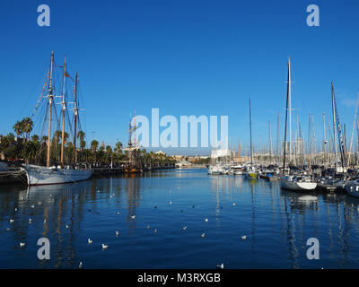 View of Port Vell in Barcelona, Spain. It is the old harbor of Barcelona with an area of sports boats, dock and - Stock Photo