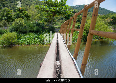 Suspension bridge, Crossing the river, ferriage in the woods - Stock Photo