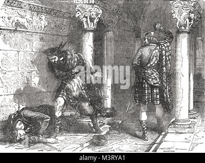Death of John Comyn, slain by Robert Bruce, 10 February 1306, before the altar, church of the Greyfriars, at Dumfries