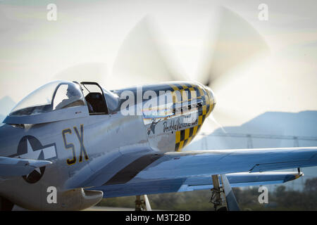 A P-51 Mustang taxis the runway at Davis-Monthan Air Force Base on March 4, 2016. The P-51 was participating in - Stock Photo
