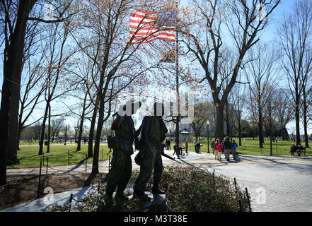 The Three Servicemen (Sometimes called The Three Soldiers) statue located on the National Mall in Washington D.C. - Stock Photo