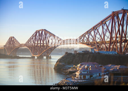 The Forth Bridge early morning from North Queensferry Fife Scotland - Stock Photo