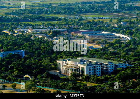 Aerial view down to the University and the Central Prison from Mandalay Hill - Stock Photo