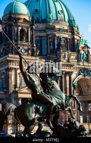 Sculpture outside Altes Museum and Berlin Cathedral on Lustgarten on Museum Island (MuseumsInsel) in Mitte, Berlin, - Stock Photo