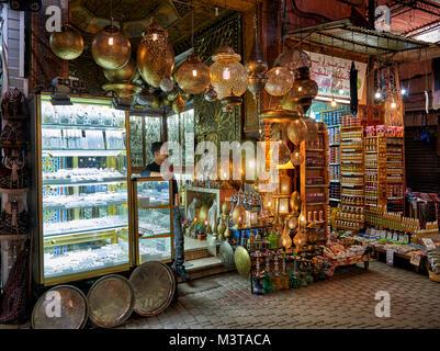 Berber market in  Marrakesh, Morocco, Africa - Stock Photo