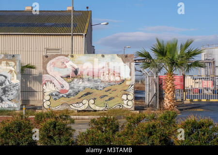Larnaca, CYPRUS, JANUARY 3 2018: Colorful graffiti on the streets of Larnaca depicting the city's main attractions: - Stock Photo