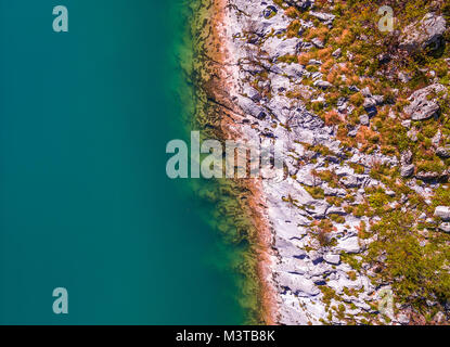 Aerial Drone view of Soca - Isonzo river in the Triglav National Park Slovenia - Stock Photo