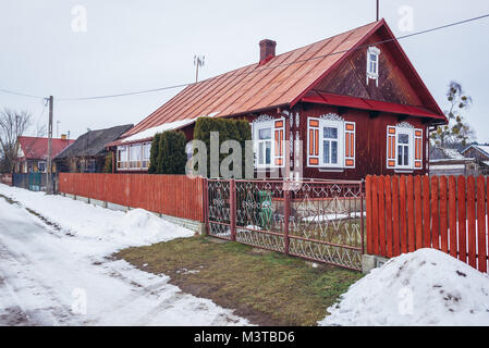 Wooden house in Soce village on so called Land of Open Shutters trail, famous for traditional architecture in Podlaskie - Stock Photo