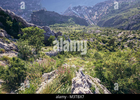 Aerial view from mountain above ruins of fortress in Kotor city in Bay of Kotor of Adriatic Sea, Montenegro - Stock Photo