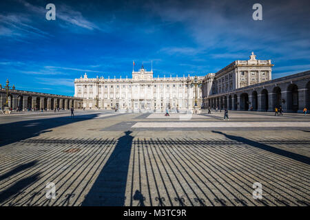 Royal Palace of Madrid is the official residence of the Spanish Royal Family at the city of Madrid, Spain - Stock Photo