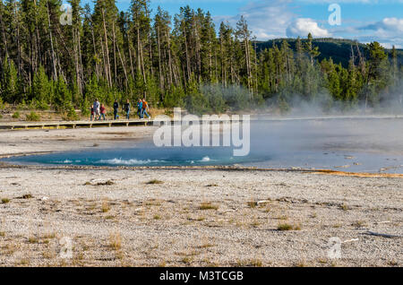 Celestine Pool in the Fountain Paint Pot area.  Yellowstone National Park, Wyoming, USA - Stock Photo