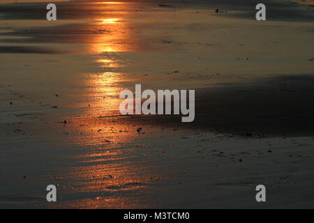 Sun Reflection at the Beach at Low Tide on Cape Cod - Stock Photo