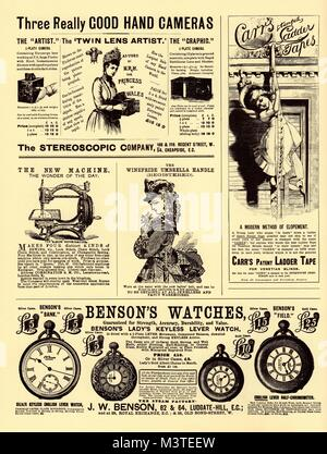 Selection of Victorian and Edwardian advertisements for watches and cameras, Circa 1900 - Stock Photo