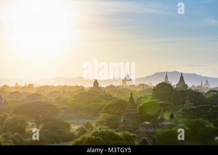 Bagan: Thatbyinnyu Temple, Ananda Temple, temples in Old Bagan, stupa Tan Kyi Paya atop mountain, , Mandalay Region, Myanmar (Burma)
